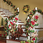Christmas Ball Spiral Lighted Garland and Wreath
