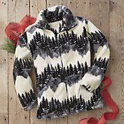 snow trees fleece jacket