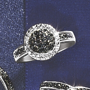 Black Diamond Round Cluster Ring