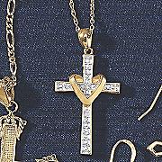 diamond heart cross pendant