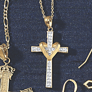 diamond heart cross pendant