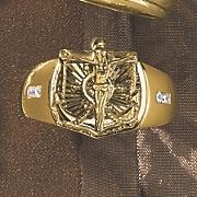 cubic zirconium crucifix ring