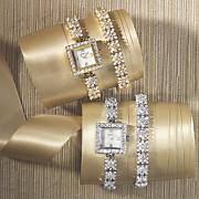 cubic zirconia watch and bracelet set