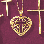 gold heart cross pendant