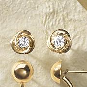 Gold Cubic Zirconia Knot Post Earrings