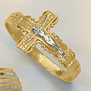 2 tone 10k gold crucifix ring