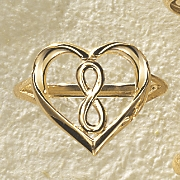 gold heart infinity ring