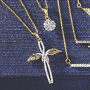 10k gold diamond accent winged cross pendant