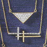 10k gold diamond horizontal two cross pendant