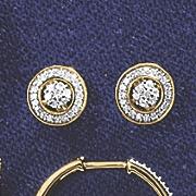 10K Gold Diamond Round Cluster Earrings