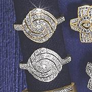 10k gold diamond round swirl ring