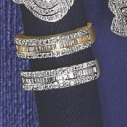 10k gold diamond round baguette ring
