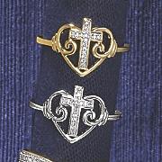 10k gold diamond heart cross ring