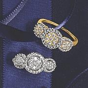 10k gold diamond triple round cluster ring