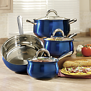 7 pc  colored stainless steel cookware set by oster