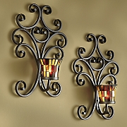 set of 2 mosaic glass sconces