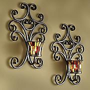 set of 2 mosaic glass sconces