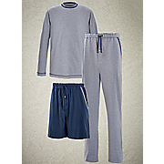 3 pc  gray navy pj set