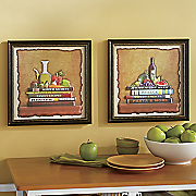 set of 2 cookbook 3 d wall art