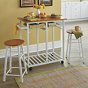 Dual-Purpose Kitchen Cart with Stools