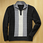 1 4 Zip Black and White Cable Sweater