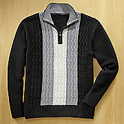 1/4-Zip Black-and-White Cable Sweater