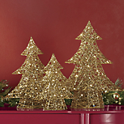 3 piece lighted golden tree set
