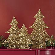 3 piece lighted golden tree set