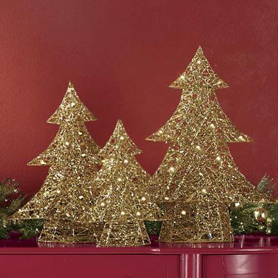 3-Piece Lighted Golden Tree Set