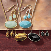 gemstone oval necklace and earring set