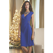 Surplice Cascade Ruffle Dress