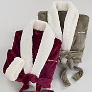 personalized faux sherpa trim unisex robe