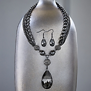 Pear/Crystal Necklace and Earring Set