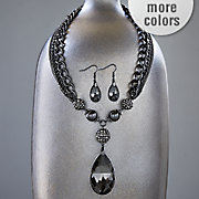 pear crystal necklace and earring set