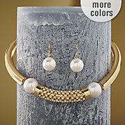 faux pearl crystal necklace earring set