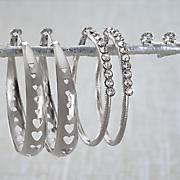3 pr  hoop post earring set