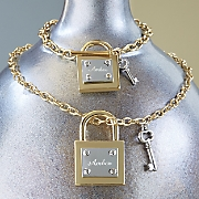 personalized lock key necklace and bracelet