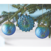 set of 3 peacock ornaments