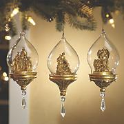 set of 3 glass nativity ornaments