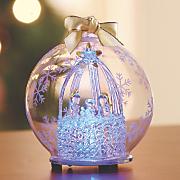 nativity scene glass ornament