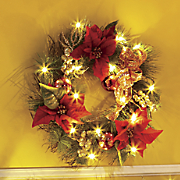 Poinsettia Lighted Wreath