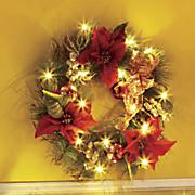 poinsettia lighted wreath