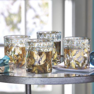 Set of 4 18K Gold-Accented Cocktail Glasses