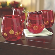 Set of 4 Red Stemless Wine Glasses