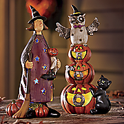 lit halloween figurines