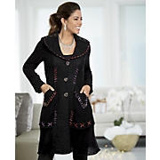 button and lace trim sweater coat
