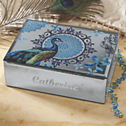 personalized peacock jewelry box