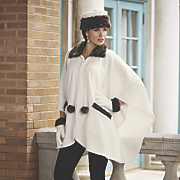 winter white cape  hat and gloves set