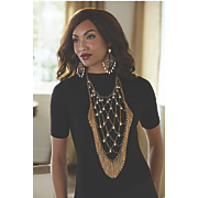 faux pearl fringe bib necklace