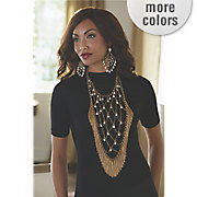 faux pearl fringe bib necklace and earrings